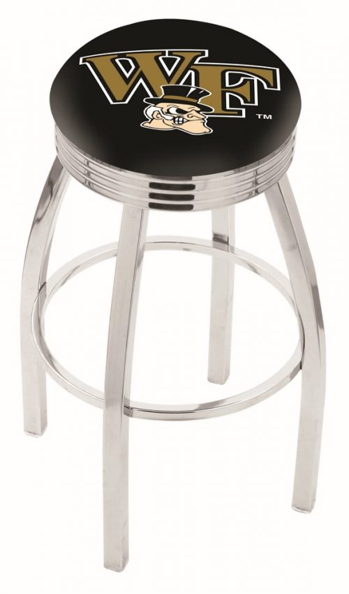 "Wake Forest Demon Deacons (L8C3C) 25"" Tall Logo Bar Stool by Holland Bar Stool Company (with Single Ring Swivel Chrome Solid Welded Base)"