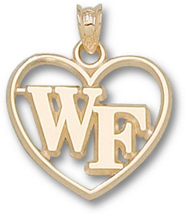 "Wake Forest Demon Deacons ""WF"" Heart Pendant - 10KT Gold Jewelry"