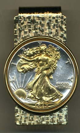 Walking Liberty Half Dollar (1916 - 1947) Two Tone U.S. Coin Hinged Money Clip