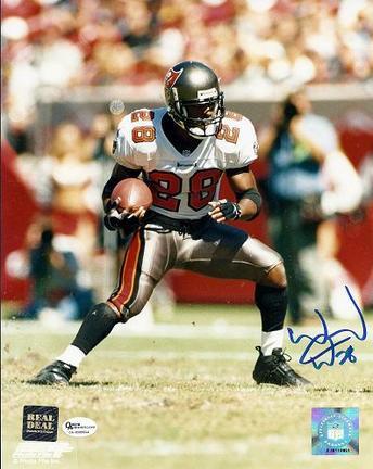 """Warrick Dunn Autographed Tampa Bay Bucs 8"""" x 10"""" Photograph (Unframed)"""