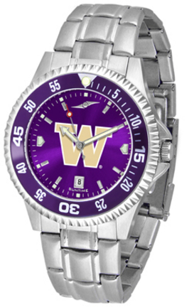 Washington Huskies Competitor AnoChrome Men's Watch with Steel Band and Colored Bezel