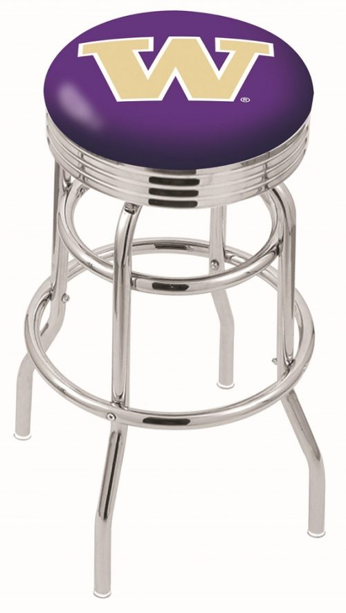 "Washington Huskies (L7C3C) 25"" Tall Logo Bar Stool by Holland Bar Stool Company (with Double Ring Swivel Chrome Base)"