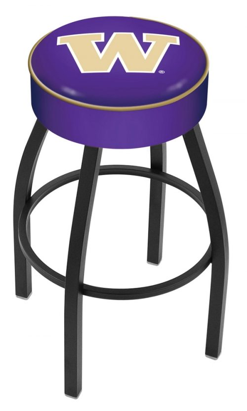 "Washington Huskies (L8B1) 30"" Tall Logo Bar Stool by Holland Bar Stool Company (with Single Ring Swivel Black Solid Welded Base)"