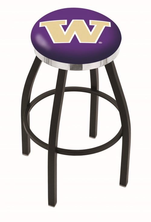 "Washington Huskies (L8B2C) 30"" Tall Logo Bar Stool by Holland Bar Stool Company (with Single Ring Swivel Black Solid Welded Base)"