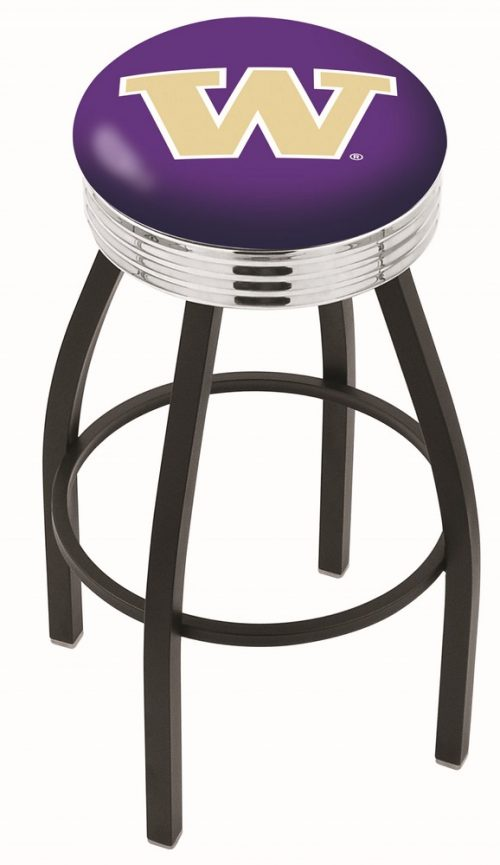 "Washington Huskies (L8B3C) 25"" Tall Logo Bar Stool by Holland Bar Stool Company (with Single Ring Swivel Black Solid Welded Base)"