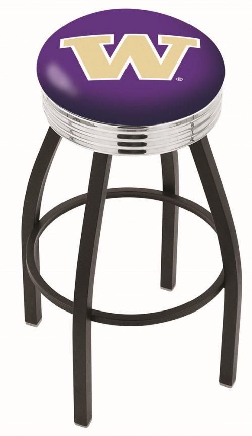 "Washington Huskies (L8B3C) 30"" Tall Logo Bar Stool by Holland Bar Stool Company (with Single Ring Swivel Black Solid Welded Base)"