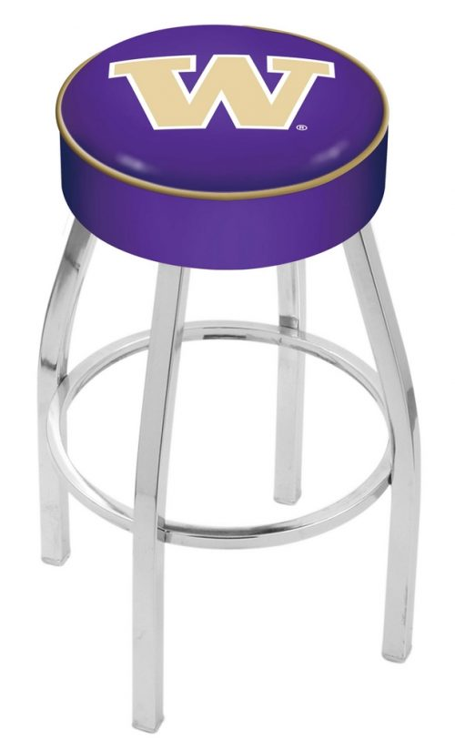 "Washington Huskies (L8C1) 25"" Tall Logo Bar Stool by Holland Bar Stool Company (with Single Ring Swivel Chrome Solid Welded Base)"