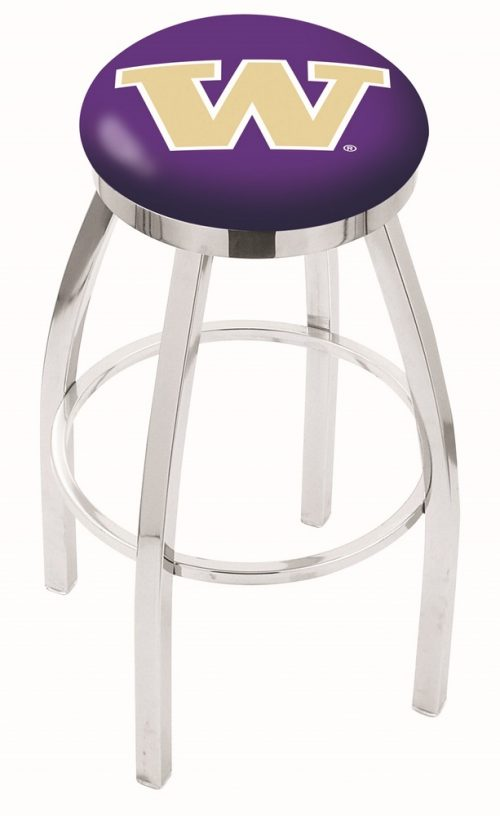 "Washington Huskies (L8C2C) 25"" Tall Logo Bar Stool by Holland Bar Stool Company (with Single Ring Swivel Chrome Solid Welded Base)"