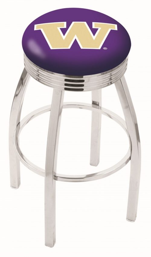 "Washington Huskies (L8C3C) 25"" Tall Logo Bar Stool by Holland Bar Stool Company (with Single Ring Swivel Chrome Solid Welded Base)"