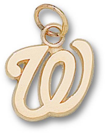 """Washington Nationals 1/2"""" """"W"""" Charm - 10KT Gold Jewelry"""