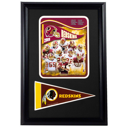 "Washington Redskins 2008 Photograph with Team Pennant in a 12"" x 18"" Deluxe Frame"