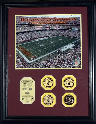 """Washington Redskins 3 Time Super Bowl Champions 8"""" x 10"""" Framed Photograph and Medallions Set from The Highland Mint"""