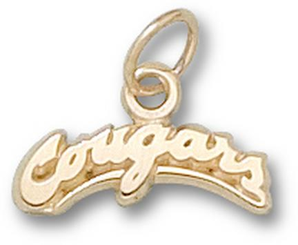 "Washington State Cougars Arched ""Cougars"" 1/4"" Charm - 14KT Gold Jewelry"