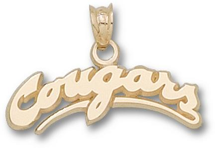 "Washington State Cougars Arched ""Cougars"" 5/16"" Pendant - 10KT Gold Jewelry"