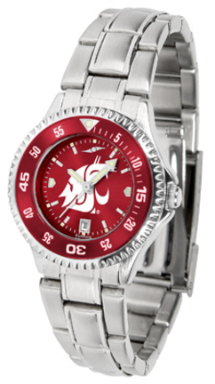 Washington State Cougars Competitor AnoChrome Ladies Watch with Steel Band and Colored Bezel