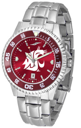 Washington State Cougars Competitor AnoChrome Men's Watch with Steel Band and Colored Bezel