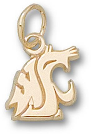 "Washington State Cougars ""WSU Cougar Head"" 3/8"" Charm - 14KT Gold Jewelry"