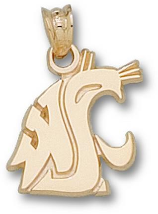 "Washington State Cougars ""WSU Cougar Head"" 9/16"" Pendant - 10KT Gold Jewelry"