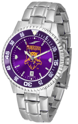 Weber State Wildcats Competitor AnoChrome Men's Watch with Steel Band and Colored Bezel