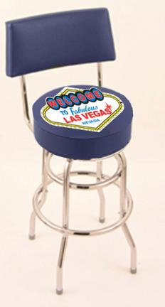 "Welcome to Las Vegas"" (L7C4) 30"" Tall Logo Bar Stool by Holland Bar Stool Company (with Double Ring Swivel Chrome Base and Chair Seat Back)"