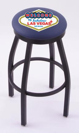 "Welcome to Las Vegas"" (L8B2B) 30"" Tall Logo Bar Stool by Holland Bar Stool Company (with Single Ring Swivel Black Solid Welded Base)"