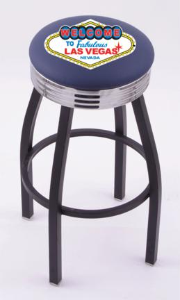 "Welcome to Las Vegas"" (L8B3C) 25"" Tall Logo Bar Stool by Holland Bar Stool Company (with Single Ring Swivel Black Solid Welded Base)"