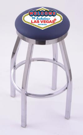 "Welcome to Las Vegas"" (L8C2C) 30"" Tall Logo Bar Stool by Holland Bar Stool Company (with Single Ring Swivel Chrome Solid Welded Base)"