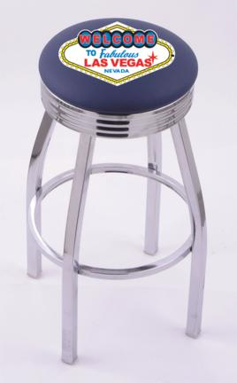 "Welcome to Las Vegas"" (L8C3C) 25"" Tall Logo Bar Stool by Holland Bar Stool Company (with Single Ring Swivel Chrome Solid Welded Base)"