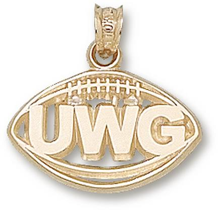 "West Georgia Wolves Pierced ""UWG Football"" Pendant - 10KT Gold Jewelry"