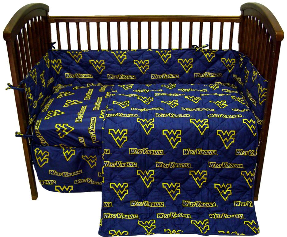 West Virginia Mountaineers 5 Piece Baby Crib Set