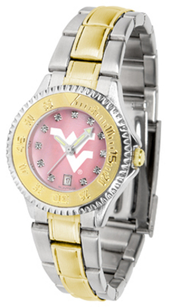 West Virginia Mountaineers Competitor Ladies Watch with Mother of Pearl Dial and Two-Tone Band