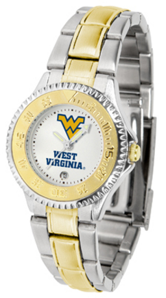 West Virginia Mountaineers Competitor Ladies Watch with Two-Tone Band