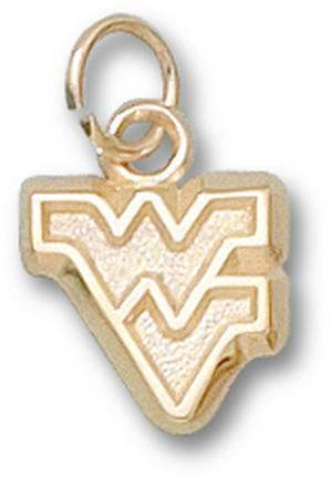 "West Virginia Mountaineers Outlined ""WV"" 3/8"" Charm - 14KT Gold Jewelry"