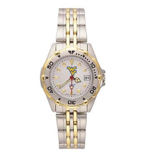 "West Virginia Mountaineers ""WV"" All Star Watch with Stainless Steel Band - Women's"