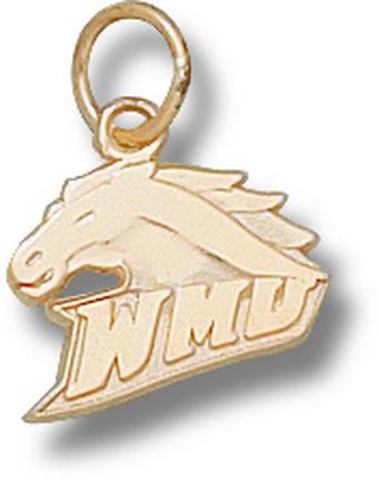 "Western Kentucky Hilltoppers 3/8"" ""WMU Bronco Head"" Charm - 10KT Gold Jewelry"