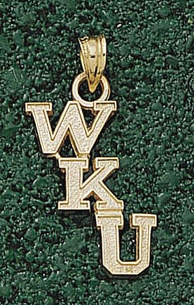 "Western Kentucky Hilltoppers Cascading ""WKU"" Pendant - 10KT Gold Jewelry"