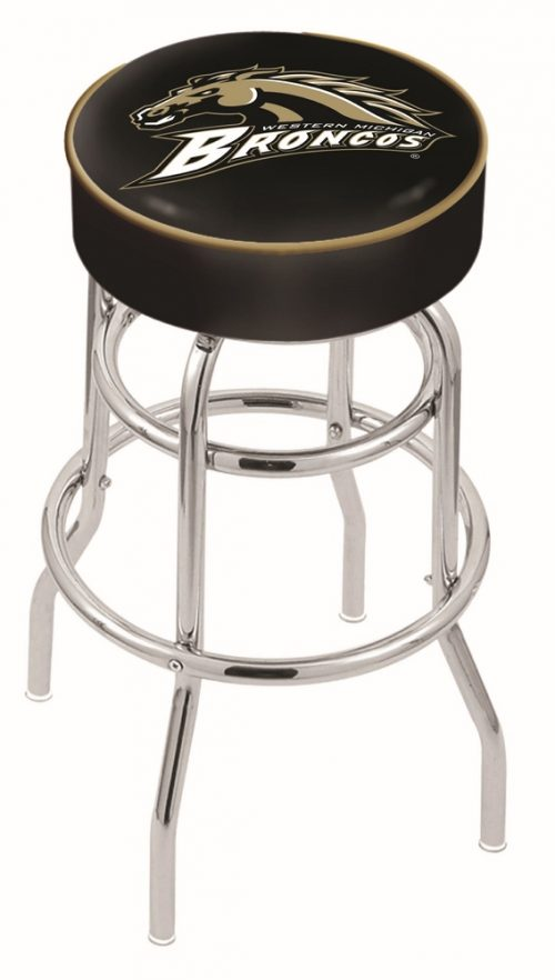 "Western Michigan Broncos (L7C1) 25"" Tall Logo Bar Stool by Holland Bar Stool Company (with Double Ring Swivel Chrome Base)"
