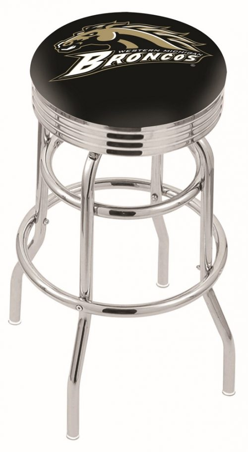 "Western Michigan Broncos (L7C3C) 30"" Tall Logo Bar Stool by Holland Bar Stool Company (with Double Ring Swivel Chrome Base)"