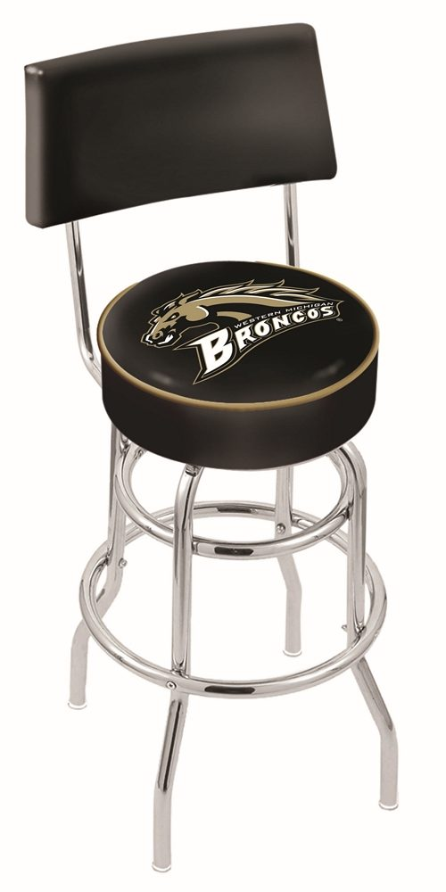 """Western Michigan Broncos (L7C4) 25"""" Tall Logo Bar Stool by Holland Bar Stool Company (with Double Ring Swivel Chrome Base and Chair Seat Back)"""