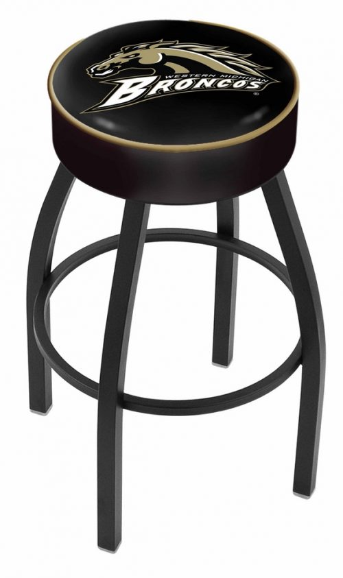 "Western Michigan Broncos (L8B1) 25"" Tall Logo Bar Stool by Holland Bar Stool Company (with Single Ring Swivel Black Solid Welded Base)"