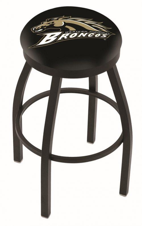 "Western Michigan Broncos (L8B2B) 25"" Tall Logo Bar Stool by Holland Bar Stool Company (with Single Ring Swivel Black Solid Welded Base)"