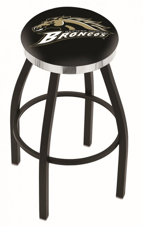 "Western Michigan Broncos (L8B2C) 25"" Tall Logo Bar Stool by Holland Bar Stool Company (with Single Ring Swivel Black Solid Welded Base)"