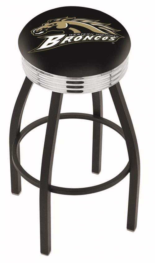 "Western Michigan Broncos (L8B3C) 25"" Tall Logo Bar Stool by Holland Bar Stool Company (with Single Ring Swivel Black Solid Welded Base)"