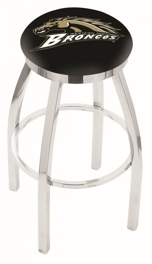 "Western Michigan Broncos (L8C2C) 25"" Tall Logo Bar Stool by Holland Bar Stool Company (with Single Ring Swivel Chrome Solid Welded Base)"