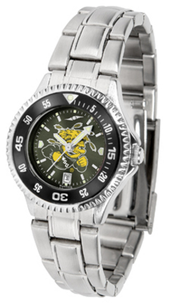 Wichita State Shockers Competitor AnoChrome Ladies Watch with Steel Band and Colored Bezel