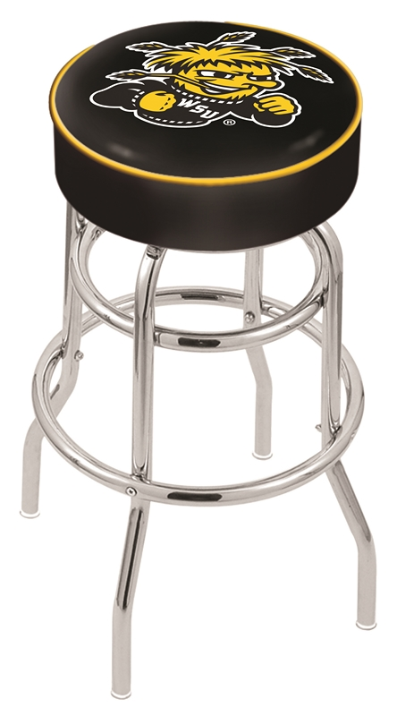 "Wichita State Shockers (L7C1) 25"" Tall Logo Bar Stool by Holland Bar Stool Company (with Double Ring Swivel Chrome Base)"