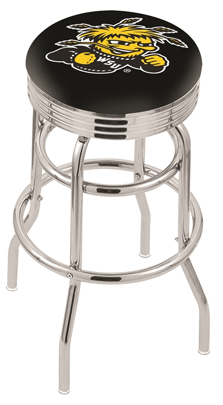 "Wichita State Shockers (L7C3C) 30"" Tall Logo Bar Stool by Holland Bar Stool Company (with Double Ring Swivel Chrome Base)"