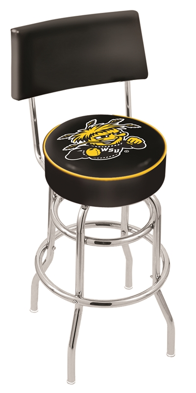 "Wichita State Shockers (L7C4) 25"" Tall Logo Bar Stool by Holland Bar Stool Company (with Double Ring Swivel Chrome Base and Chair Seat Back)"