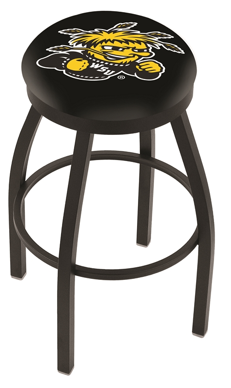 "Wichita State Shockers (L8B2B) 30"" Tall Logo Bar Stool by Holland Bar Stool Company (with Single Ring Swivel Black Solid Welded Base)"