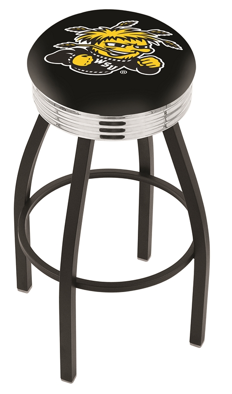 "Wichita State Shockers (L8B3C) 30"" Tall Logo Bar Stool by Holland Bar Stool Company (with Single Ring Swivel Black Solid Welded Base)"